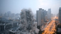 A 118-Meter-High Building Demolished in Northwest China