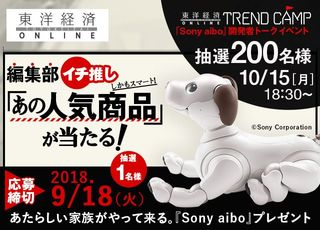秋の感謝プレゼント第4弾『SONY aibo』+aibo開発チームのトークイベント開催