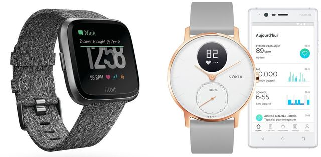 (左)「Fitbit Versa」実勢価格税込み 2万5897円(写真:Fitbit)/(右)「Nokia Steel HR」実勢価格税込み 2万2952円(写真:Withings)