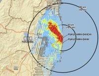 米エネルギー省が福島第一原発事故で受ける年間の放射線量の推定を発表、北西方向に年間20ミリシーベルト超の地域