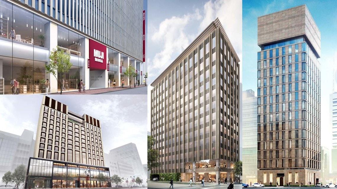 ホテル ザ セレスティン銀座(右)、東京エディション銀座(中央)、MUJI HOTEL(上)、ハイアット セントリック 銀座 東京(下)など、銀座にはホテルが続々とオープンする(完成予想図は各社提供)