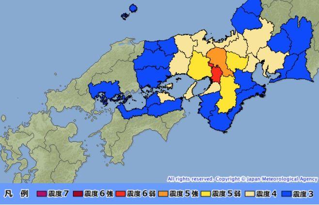 大阪府北部で震度6弱の地震、津波の心配なし