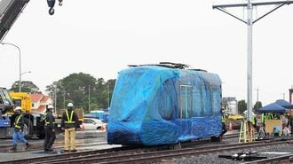 宇都宮LRT、ついに「第1編成」が車両基地に出現